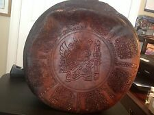 Antique Hand Tooled Leather Spanish Hat Box/Suitcase Rare Character, circa 1950s