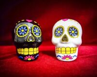 Salt and Pepper Shakers Day of the Dead Sugar Skull Set-Kitchen Decor SHIPS FREE