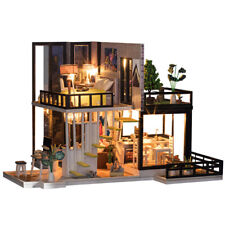 New DIY Dollhouse Miniature Sep Forest House Furniture LED Light Creative Gift