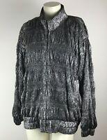 ADS San Francisco Bomber Women's Jacket Silver/Black Shimmer Puffer Look Size M