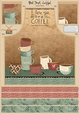 BUT FIRST COFFEE~WILMINGTON FABRIC~QUILT PANEL~SAYINGS, CUPS~APRON