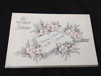 #724 Beautiful Vintage 1950s Sympathy Sorrow Greeting Card Silver Glitter Floral