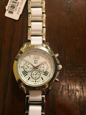 New York And Company White And Silver Round Watch