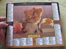 calendrier almanach du facteur 1997 - ours en peluche, nounours, teddy bear