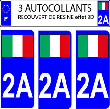 3 stickers plaque immatriculation auto DOMING 3D RESINE DRAPEAU ITALIE N° 2A