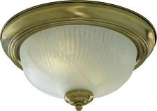Traditional Flush Ceiling Light In Antique Brass With Ribbed Frosted Glass 120W