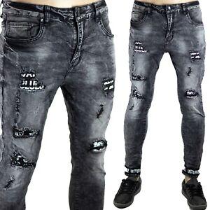 Pantaloni Uomo Elasticizzati Jeans SlimFit Strappi Skinny Aderenti Toppe Grigio
