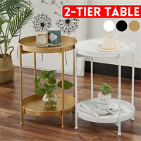 2Tier Metal Wooden Occasional Round Sofa Side Coffee Table Living Room Furniture