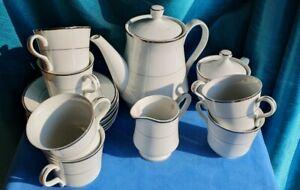 White & Silver Aspect Fine Porcelain 6 Setting Tea Service VGC