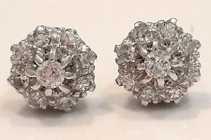 STUNNING 18CT WHITE GOLD ROUND AND OLD CUT DIAMOND EARRINGS STUDS