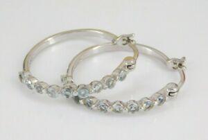 Ross Simons 925 Sterling Silver Blue Topaz Hoop Earrings