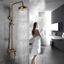 "Wall Mounted Antique Brass Bathroom Economic 8"" Rainfall Shower Faucet Set"