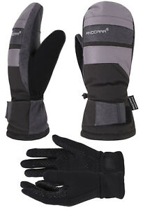 Men Winter Waterproof Ski Snowboard Gloves Mittens w/ Pockets & Inner Gloves