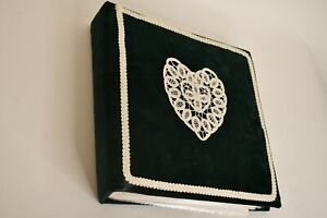 Vintage Homemade Quilted Green Fabric White Photo Album Scrapbook 6 Slot 37 Pgs.