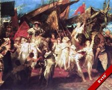 ARRIVAL OF KAISER CHARLES V TO ANTWERP BELGIUM PAINTING ART REAL CANVAS PRINT