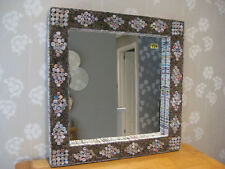 Habitat Cohen Contemporary Hand Made Square Mirror Recycled Magazines      (724)