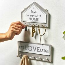 Key Holder Hanger Wall Hanging Wood Wall Organizer Rectangle House Shape Rack