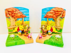 Winnie The Pooh and Friends 3D Bookends Disney Hallmark Rare Stuck In Fence Tree