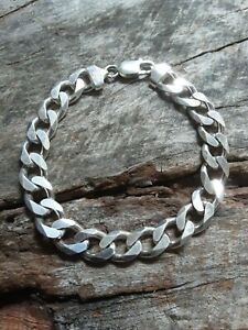 """MENS STERLING SILVER OTC ITALY 9MM X 8 3/8"""" CURB LINK BRACELET 30 GRAMS #9221A"""
