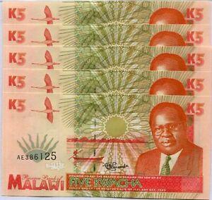 Malawi 5 Kwacha 1995 P 30 UNC Lot 5 Pcs