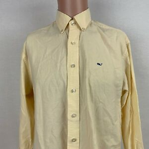Vineyard Vines Mens Button Down Whale Shirt S Yellow Long Sleeve Shep Ian Cotton