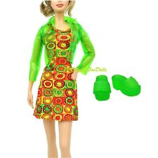 Barbie Fashion Outfit Plastic Jacket Dress Slippers New NO DOLL