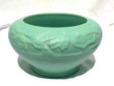 """Weller 1920s 7 1/2"""" Matte Green Breton Bowl Planter Vase"""