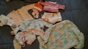 "Baby Doll Clothes - 9 pc. All Hand Knitted  -Chou , Cabbage Patch, 16""-18"""