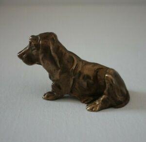 Hund Figur Bronze 245g massiv Tier Dackel Basset Skulptur Statue dog alt vintage