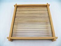 PartyLite Verde Square Bamboo Tray Beveled Glass Candle Tray Retired P90087 EUC