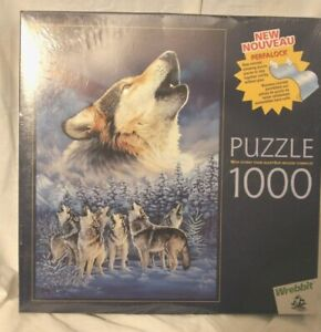 Wrebbit Perfalock Puzzle Howling Wolf Pack Sealed New 1000 Pieces