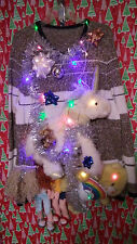 """GAY PRIDE """" UGLY """" TACKY Christmas SWEATER 2X-LARGE  LIGHTS WOMENS L@@K"""