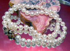 AKOYA SALTWATER WHITE PEARL CHOCKER NECKLACE 14K GOLD AAA 6mm PEARLS 15.5""