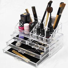 Clear Make-Up Display Case With 4 Drawers Acrylic Makeup Storage Organiser
