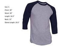 New 3/4 Sleeve Raglan Baseball Mens Plain Tee Jersey T-Shirt Gray Navy Blue S