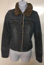 Abercrombie Fitch Women's Lined Denim Jean Jacket Faux Shearling Sherpa Collar-S