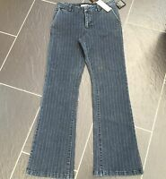 DEBENHAMS ROCHA JOHN ROCHA DARK GREY BOOTCUT LADIES STRIPE DENIM JEANS 10 NEW