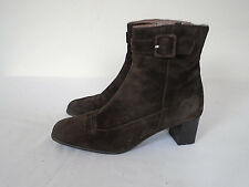 CLARKS Ladies Boots Size 4 Brown Suede Ankle Side Zip Heels 2""
