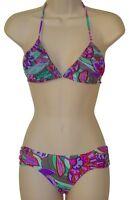 Raisins aqua floral shirred triangle bikini size M swimsuit new