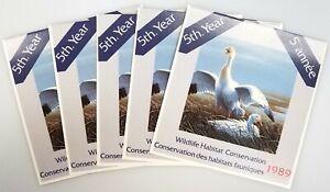Lot of FIVE 1989 Canada $7.50 Duck Stamp! Wildlife Habitat Conservation folder!
