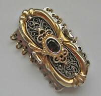 Perlenketten Schließe in 925 Silber teilverholdet mit Granat Tracht 9 reihig