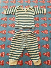 0-3 Months Green Baby Blue Cream striped Outfit