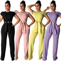 Womens Fashion Round Neck Short Sleeve Solid Wide Leg Pants Jumpsuit Casual 2pcs
