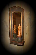 Primitive Gathering Distressed Wood Candle Sconce with Mirror & Candle Nubby