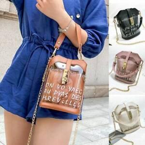 Fashion Women Transparent PVC Alphabet Jelly Bag Casual Tote Handbag UK