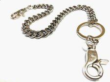 """Silver Link Biker Trucker Punk Keychain Key Ring Double Hook Wallet Chain 18"""""""