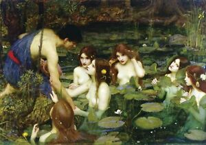 J.W Waterhouse - Hylas and the Nymphs - A3 size 29.7x42cm Canvas Print Unframed