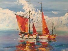 paysage marin voiliers tableau peinture acrylique sur toile / painting on canvas
