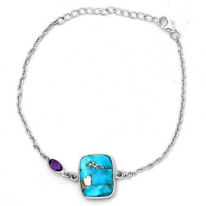 Kingman Turquoise With Pyrite and Amethyst 925 Silver Bracelet Jewelry 9946