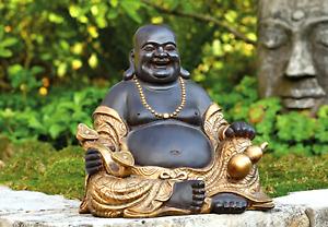Glücklicher Lucky Buddha Garten Figur Groß  Lachender Budda Gold Braun Feng Shui